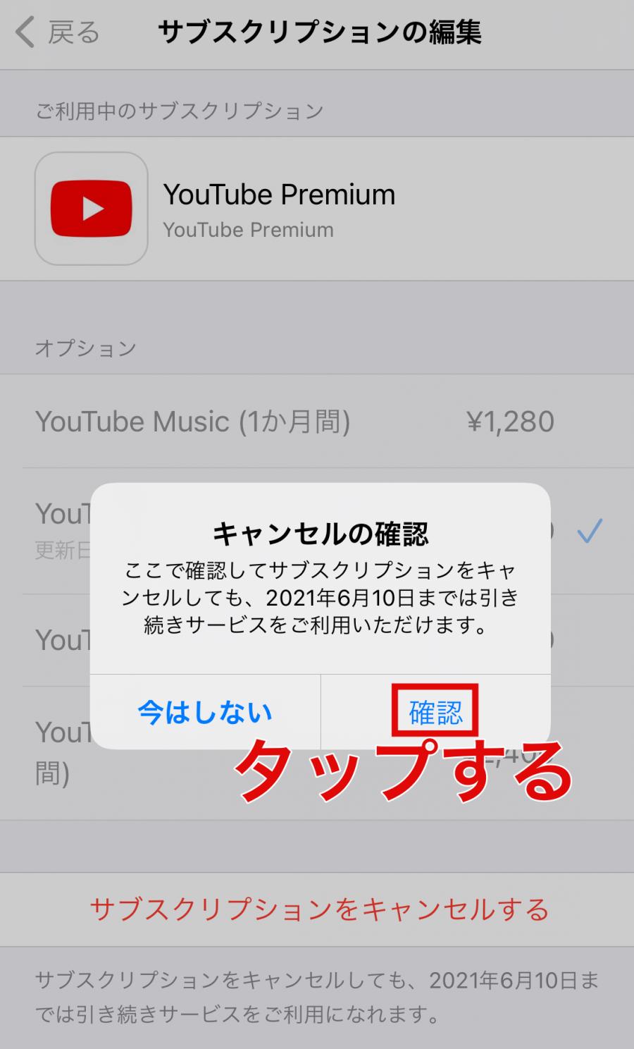 iOS YouTubeプレミアム 解約方法6