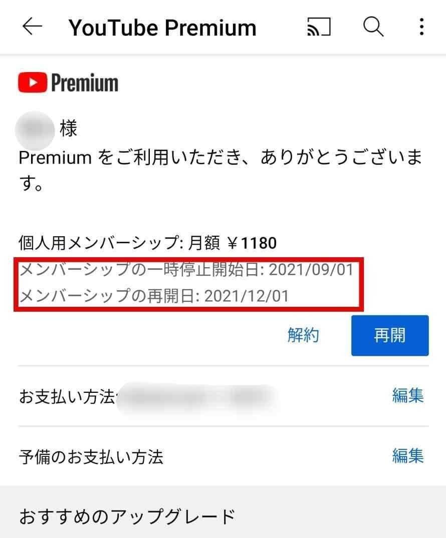 Android YouTubeプレミアム 一時停止9