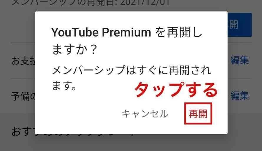 Android YouTubeプレミアム 一時停止再開6